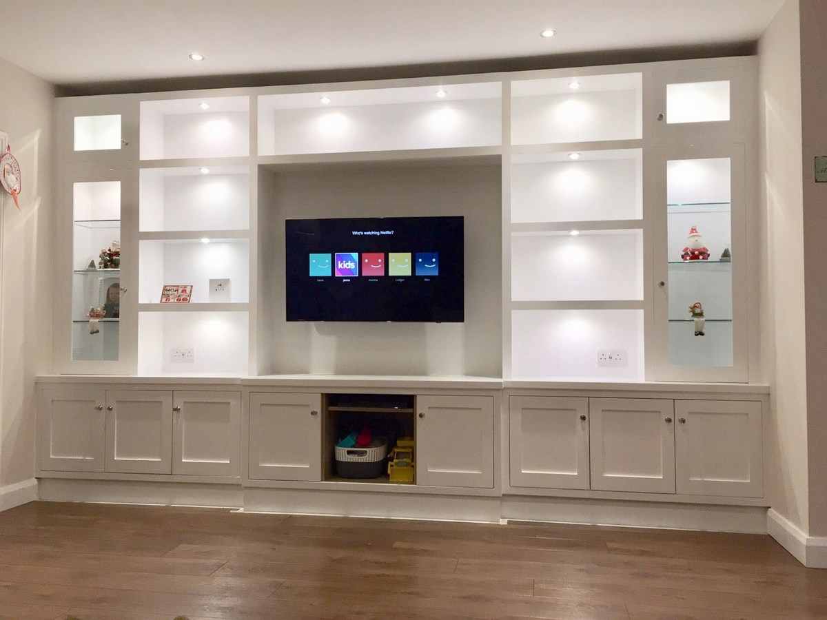 full wall media and display cabinet dublin ireland patrick lawless woodowrking